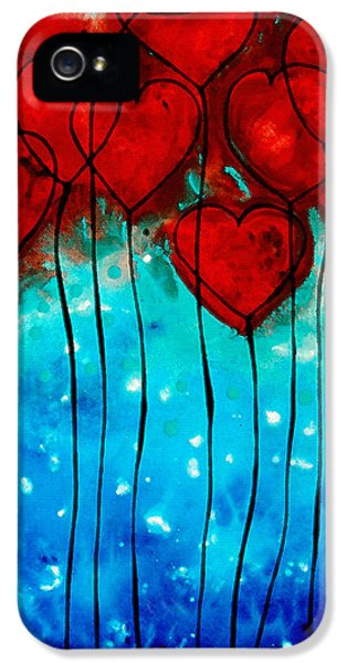 Beautiful Day iPhone 5 Cases - Hearts on Fire - Romantic Art By Sharon Cummings iPhone 5 Case by Sharon Cummings