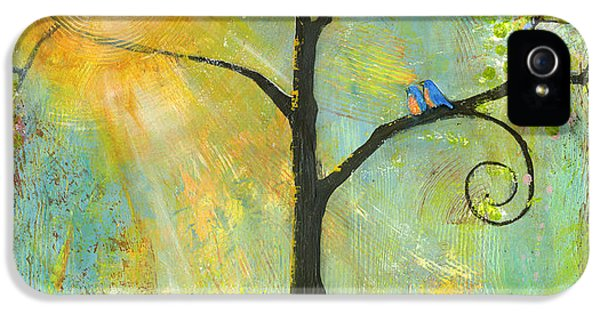 Blue Bird iPhone 5 Cases - Hello Sunshine Tree Birds Sun Art Print iPhone 5 Case by Blenda Studio