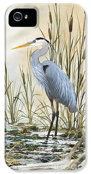 Pacific Northwest iPhone 5 Cases - Heron and Cattails iPhone 5 Case by James Williamson