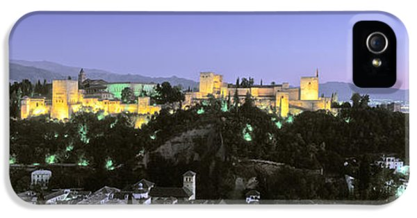 Andalusia iPhone 5 Cases - High Angle View Of A Castle Lit iPhone 5 Case by Panoramic Images
