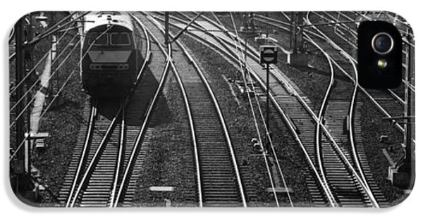 Complexity iPhone 5 Cases - High Angle View Of A Train On Railroad iPhone 5 Case by Panoramic Images