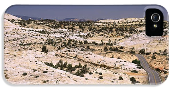 National Monuments iPhone 5 Cases - Highway Passing Through An Arid iPhone 5 Case by Panoramic Images