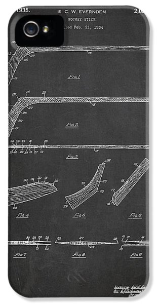 Stick iPhone 5 Cases - Hockey Stick Patent Drawing From 1934 iPhone 5 Case by Aged Pixel