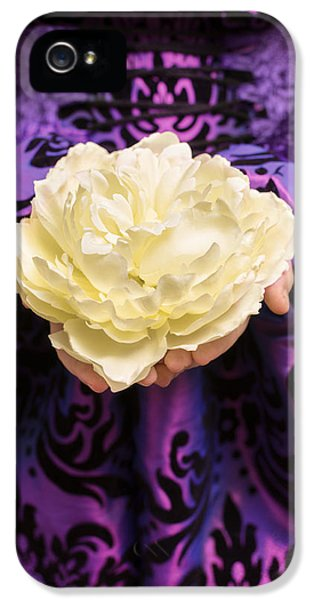 Ivory Flower iPhone 5 Cases - Holding Rose iPhone 5 Case by Amanda And Christopher Elwell