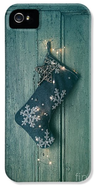 Celebration iPhone 5 Cases - Holiday stocking with lights hanging on old door iPhone 5 Case by Sandra Cunningham