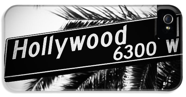Hollywood Boulevard Street Sign In Black And White IPhone 5 / 5s Case by Paul Velgos