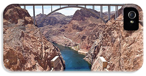 Build iPhone 5 Cases - Hoover Dam Canyonland And Bridge iPhone 5 Case by Panoramic Images