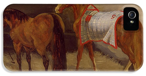 Feeding iPhone 5 Cases - Horses In The Stables Oil On Canvas iPhone 5 Case by Theodore Gericault