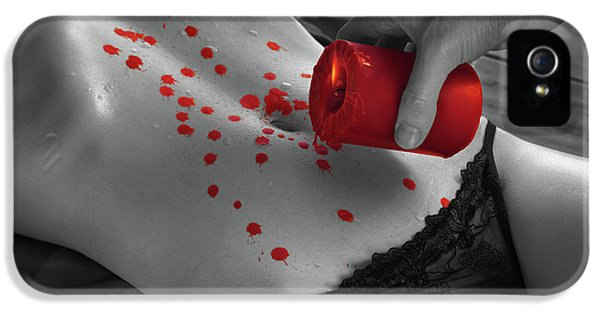 Indoors iPhone 5 Cases - Hot Wax Foreplay with red Candle iPhone 5 Case by Oleksiy Maksymenko