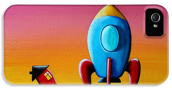 Space iPhone 5 Cases - House Builds A Rocketship iPhone 5 Case by Cindy Thornton