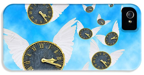 Clock iPhone 5 Cases - How Time Flies iPhone 5 Case by Juli Scalzi