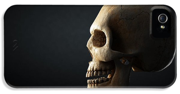 Reflective iPhone 5 Cases - Human skull profile on dark background iPhone 5 Case by Johan Swanepoel