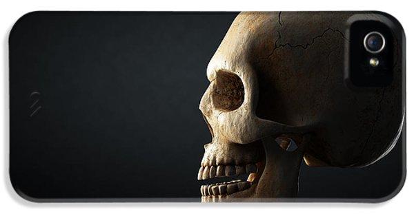 Human Skull Profile On Dark Background IPhone 5 / 5s Case by Johan Swanepoel