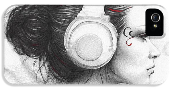 Pencil Drawing iPhone 5 Cases - I Love Music iPhone 5 Case by Olga Shvartsur