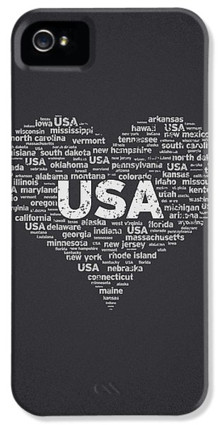Independence Day iPhone 5 Cases - I Love USA iPhone 5 Case by Aged Pixel