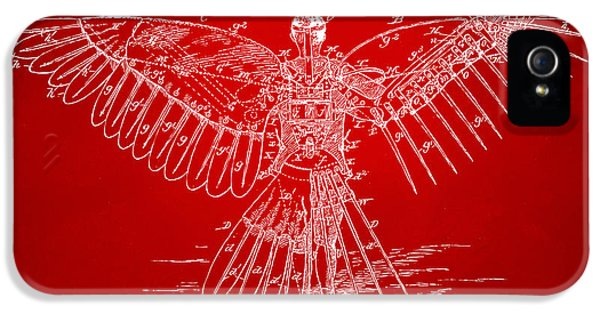 Steam-punk iPhone 5 Cases - Icarus Human Flight Patent Artwork Red iPhone 5 Case by Nikki Marie Smith