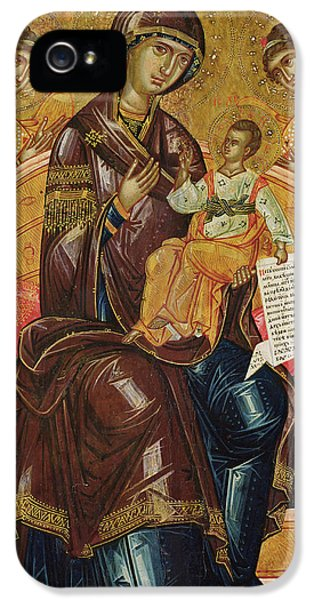 Archangel iPhone 5 Cases - Icon of the Virgin and Child with Archangels and Prophets iPhone 5 Case by Longin