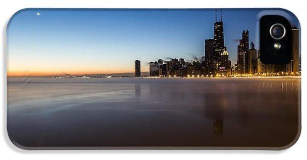 Michgan Avenue iPhone 5 Cases - icy crescent moon dawn scene in Chicago iPhone 5 Case by Sven Brogren