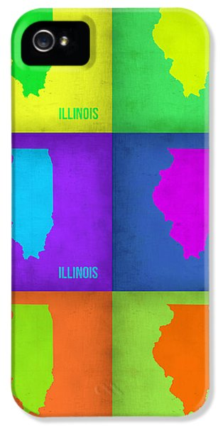 Illinois iPhone 5 Cases - Illinois Pop Art Map 1 iPhone 5 Case by Naxart Studio