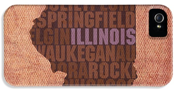 Illinois iPhone 5 Cases - Illinois State Word Art on Canvas iPhone 5 Case by Design Turnpike