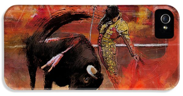 Heritage iPhone 5 Cases - Impressionistic Bullfighting iPhone 5 Case by Corporate Art Task Force