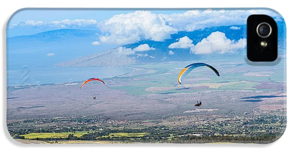 Prepper iPhone 5 Cases - In Flight - paragliders taking off high over Maui. iPhone 5 Case by Jamie Pham