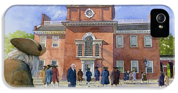 American Revolution iPhone 5 Cases - Independence Hall and Delegates iPhone 5 Case by Rob Wood