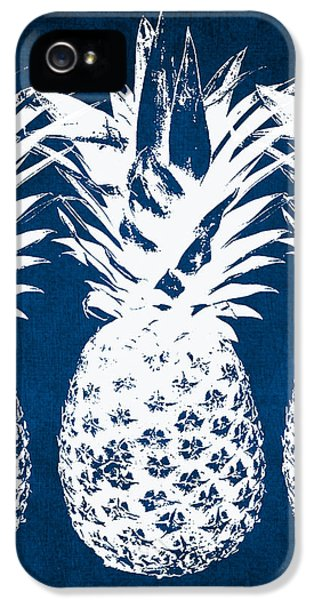 Indigo And White Pineapples IPhone 5 / 5s Case by Linda Woods