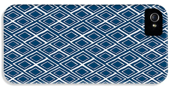 Indigo And White Small Diamonds- Pattern IPhone 5 / 5s Case by Linda Woods