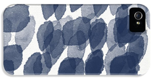 Navy iPhone 5 Cases - Indigo Rain- abstract blue and white painting iPhone 5 Case by Linda Woods