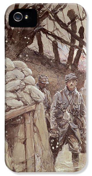 Condition iPhone 5 Cases - Infantrymen In A Trench, Notre-dame De Lorette, 1915 Wc On Paper iPhone 5 Case by Francois Flameng