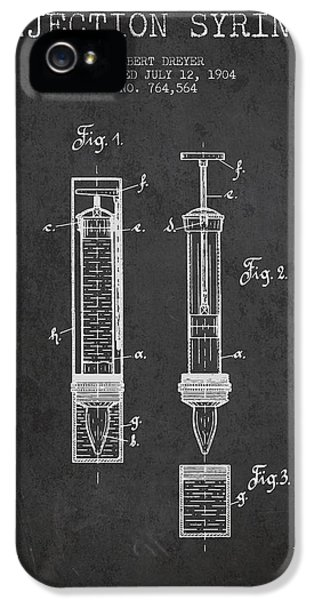Medical iPhone 5 Cases - Injection Syringe patent from 1904 - Dark iPhone 5 Case by Aged Pixel