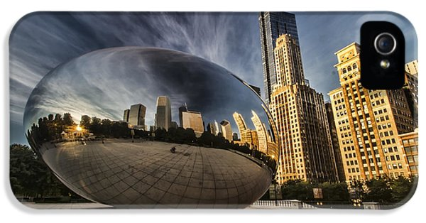 Michgan Avenue iPhone 5 Cases - Interesting Clouds wrapped around Chicagos Cloudgate iPhone 5 Case by Sven Brogren