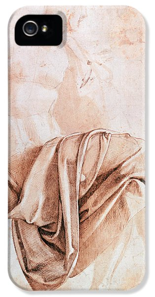 Sketch iPhone 5 Cases - Inv. 1887-5-2-118 Recto W.10 Study Of Drapery Drawing iPhone 5 Case by Michelangelo Buonarroti