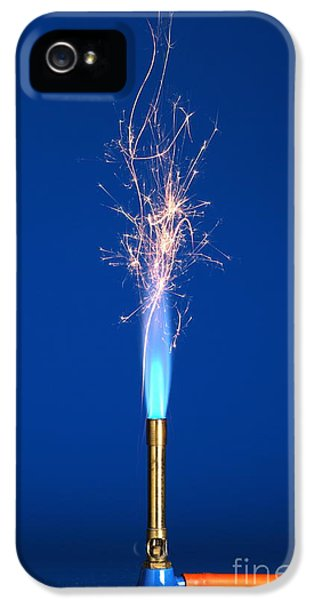 Sparking iPhone 5 Cases - Iron Filings In A Bunsen Flame iPhone 5 Case by Martyn F. Chillmaid