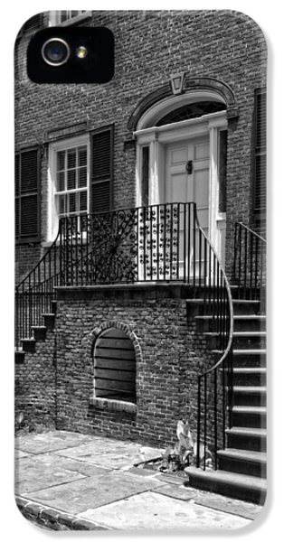 District Columbia iPhone 5 Cases - Isaiah Davenport House in Black and White iPhone 5 Case by Greg and Chrystal Mimbs