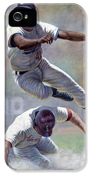 National League iPhone 5 Cases - Jackie Robinson iPhone 5 Case by Gregory Perillo