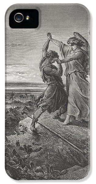 Challenge iPhone 5 Cases - Jacob Wrestling with the Angel iPhone 5 Case by Gustave Dore