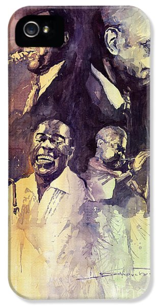 Music Legend iPhone 5 Cases - Jazz Legends Parker Gillespie Armstrong  iPhone 5 Case by Yuriy  Shevchuk