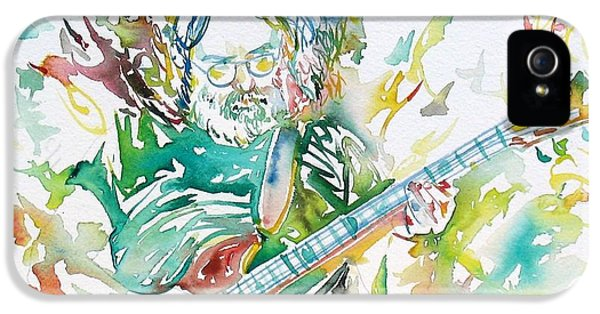Dead iPhone 5 Cases - JERRY GARCIA PLAYING the GUITAR watercolor portrait.1 iPhone 5 Case by Fabrizio Cassetta