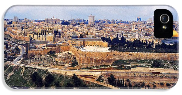 Ancient iPhone 5 Cases - Jerusalem from Mount Olive iPhone 5 Case by Thomas R Fletcher