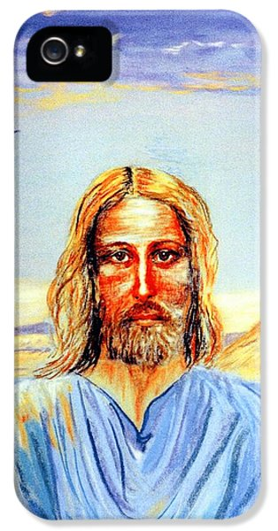 Face iPhone 5 Cases - Jesus iPhone 5 Case by Jane Small