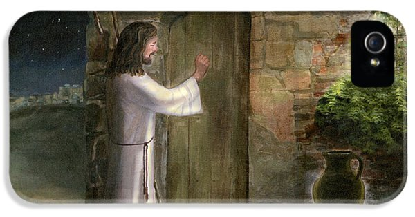 Holy Spirit iPhone 5 Cases - Jesus Knocking on the Door iPhone 5 Case by Cecilia  Brendel