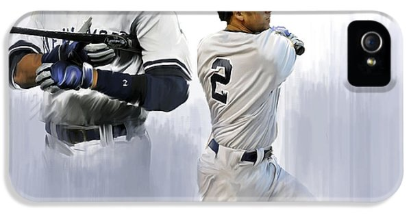 Cover iPhone 5 Cases - Jeter V Derek Jeter iPhone 5 Case by Iconic Images Art Gallery David Pucciarelli