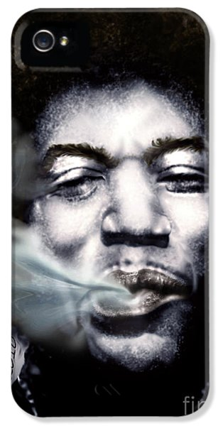 Smoke iPhone 5 Cases - Jimi Hendrix-Burning Lights-2 iPhone 5 Case by Reggie Duffie