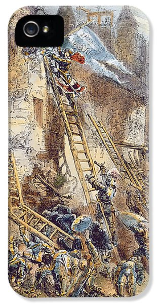 Ladder iPhone 5 Cases - Joan Of Arc At The Assault Of The Tournelles Colour Litho iPhone 5 Case by English School