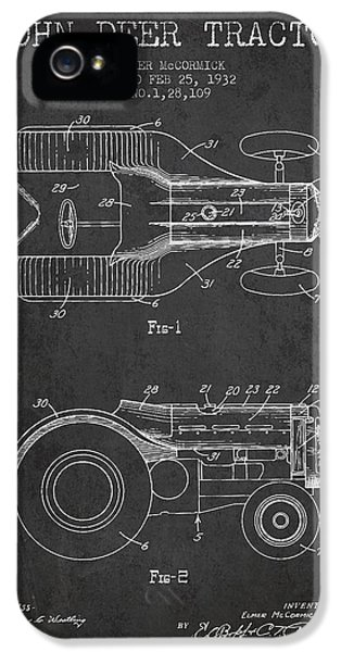 Tractor iPhone 5 Cases - John Deer Tractor Patent drawing from 1932 - Dark iPhone 5 Case by Aged Pixel