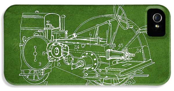 Tractor iPhone 5 Cases - John Deer Tractor Patent drawing from 1933 - Green iPhone 5 Case by Aged Pixel