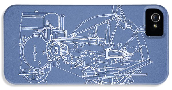 Tractor iPhone 5 Cases - John Deer Tractor Patent drawing from 1933 - Light Blue iPhone 5 Case by Aged Pixel