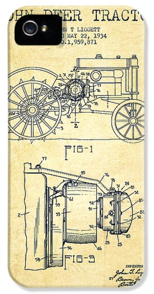 Tractor iPhone 5 Cases - John Deer Tractor Patent drawing from 1934 - Vintage iPhone 5 Case by Aged Pixel